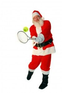Father Christmas with tennis racquet