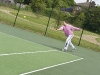 Stephen Hammond MP stretching for a forehand
